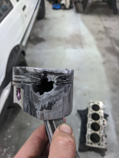 The aftermath of the AE86 blowing up on the Dyno